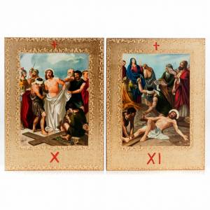 Via Crucis 15 stazioni: tavole dorate in legno s8
