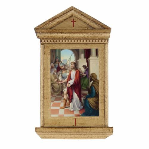 Via Crucis altarini legno XV stazioni s1