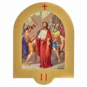 Vía Crucis: Vía Crucis estampa sobre madera 19x14 cm 15 estaciones