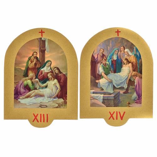 Vía Crucis estampa sobre madera 19x14 cm 15 estaciones s8