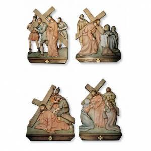 Vía Crucis: Vía Cruz 15 estaciones en relieve madera pintada a mano