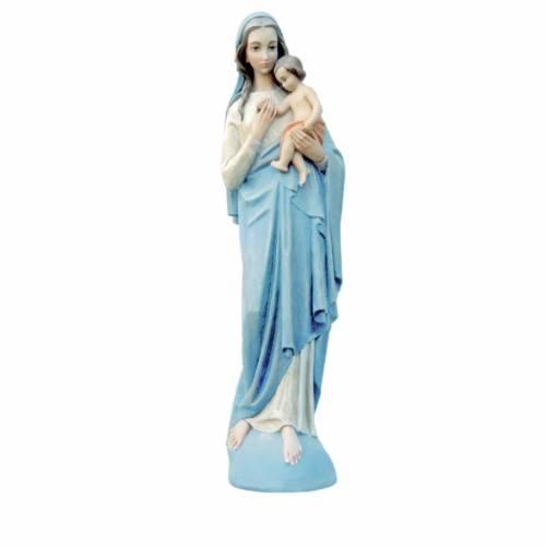 Vierge à l'enfant marbre reconstitué 100cm peinte s1