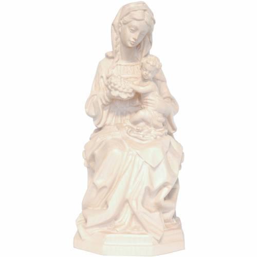 Vierge assise avec Enfant et raisin naturel ciré Valgardena s1