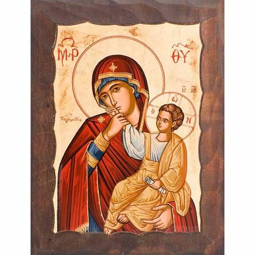 Mère de Dieu, soulagement avec manteau rouge s1