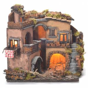 Village crèche napolitaine style 1700 avec puits 32x35x30 cm s2