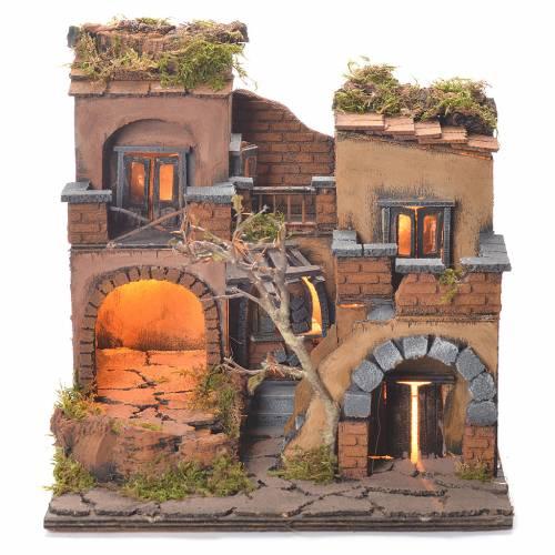 Village crèche style 1700 avec four 40x65x40 cm s1