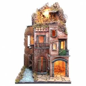 Village for Neapolitan Nativity with illumination 38x80x38cm s1