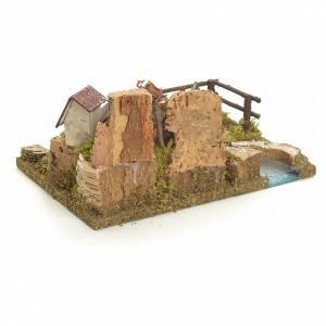 Ponts, ruisseaux, palissades pour crèche: Village sur berge de rivière pour crèche