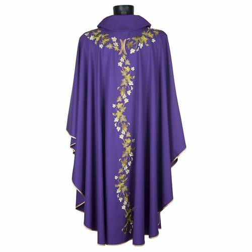 Violet chasuble with stole, ivy s4