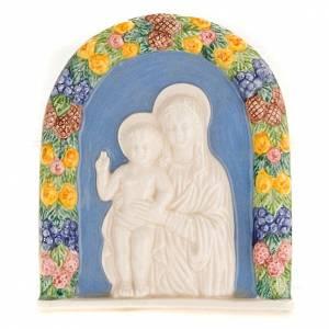 Various bas reliefs: Virgin and baby bas relief, terracotta