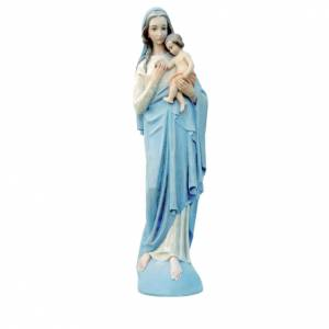 Virgin Mary with Baby 100cm in coloured reconstituted marble s1