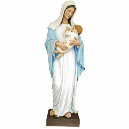 Virgin Mary with baby, statue in coloured fiberglass, 170cm s1