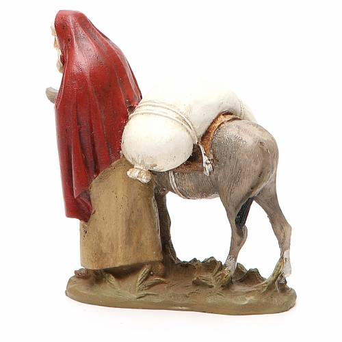 Voyageur avec âne résine peinte 10 cm gamme M. Landi s3
