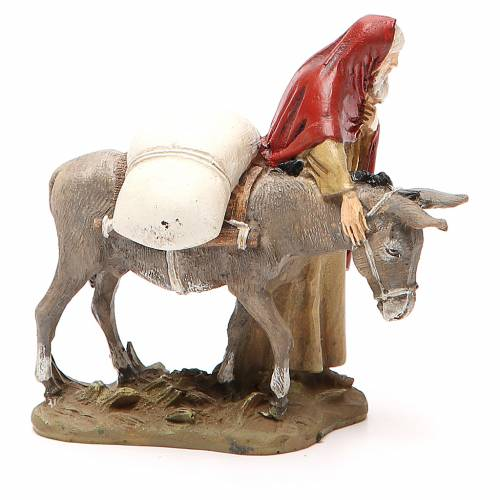 Voyageur avec âne résine peinte 10 cm gamme M. Landi s2