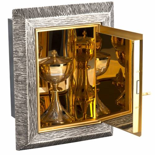 Wall Tabernacle with Lamb of God in bronze and brass s7