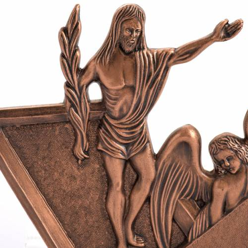 Way of the cross in copper plated bronze and wood, 15 stations s2