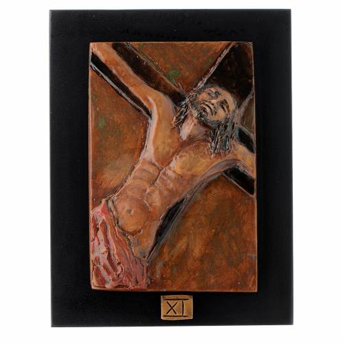 Way of the Cross in majolica backed with dark wood, 14 stations s11