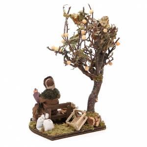 Wayfarer with dog on bench and tree, Neapolitan nativity 12cm s3