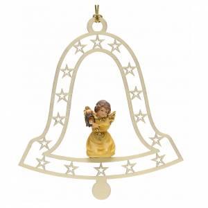 Christbaumschmuck aus Holz und PVC: Weihnachtsschmuck Glocke Engel mit Laterne aus Holz