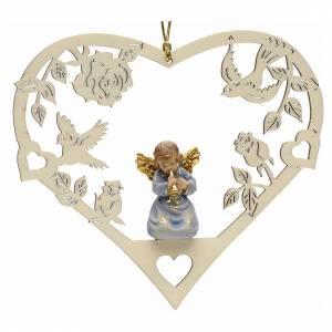 Christbaumschmuck aus Holz und PVC: Weihnachtsschmuck Herz Engel mit Trompete aus Holz