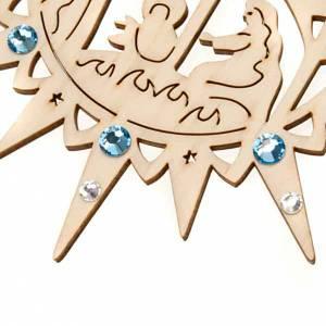 Christbaumschmuck aus Holz und PVC: Weihnachtssterne mit hell blauen Kristallen