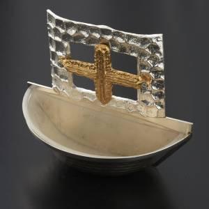 Weihwasserbecken: Weihwasserbecken vergoldete und silbrige Bronze Quadrat-Kreuz