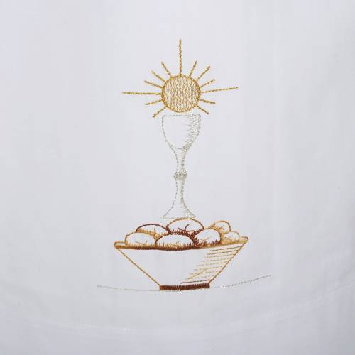White alb cotton chalice and bread s2