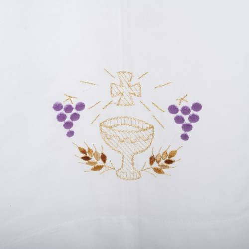 White alb in cotton, chalice, grapes, ears of wheat s2