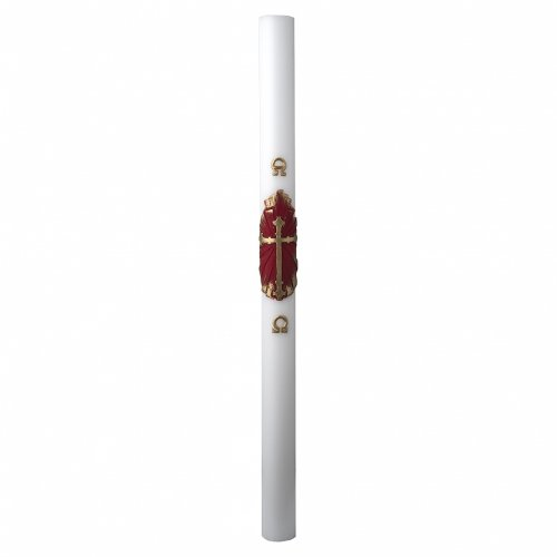White Paschal Candle, antique cross s3