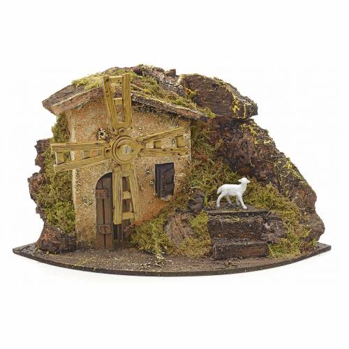 Wind mill for nativities with farmhouse and rocks 14x23x14cm s1