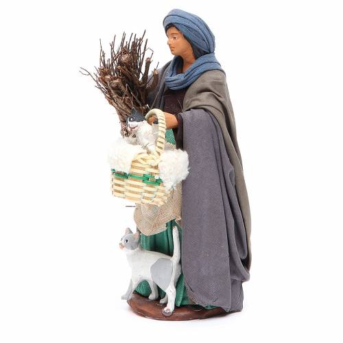 Woman with cats, figurine for Neapolitan Nativity, 14cm s2