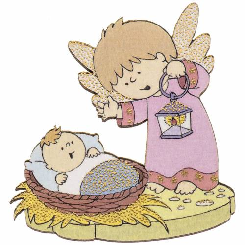Wooden magnet, angel and baby Jesus s1