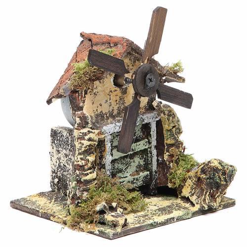 Wooden windmill for Neapolitan Nativity measuring 13x10.5x10cm s3