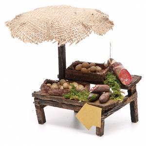 Workshop nativity with beach umbrella, cured meats 12x10x12cm s2