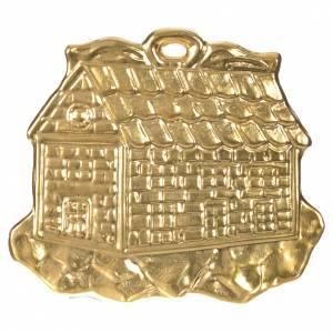Wota błagalne i dziękczynne: Wotum domek metal złocony 8.5x10 cm