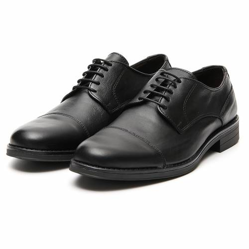 Zapatos verdadero cuero negro opaco con punta cortada s5