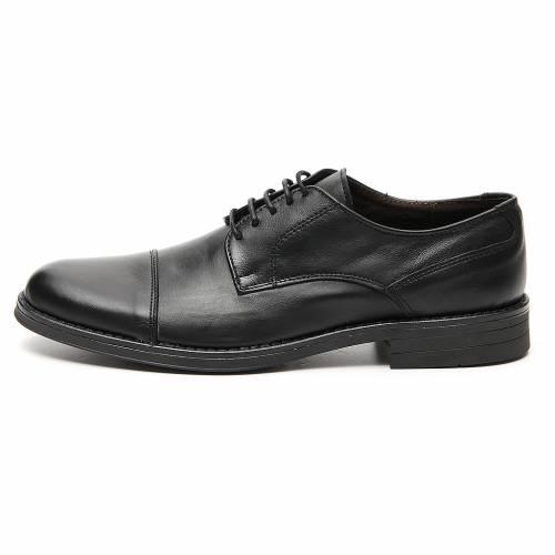 Zapatos verdadero cuero negro opaco con punta cortada s1