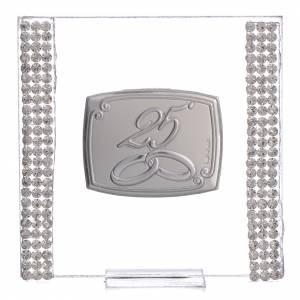 Bonbonnière: 25 year anniversary favour silver and rhinestones 7x7cm