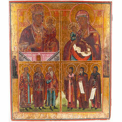 Ancient russian icon 4 parts s1