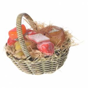 Miniature food: Accessory for nativities of 20-24cm, basket with cheeses and meats in wax