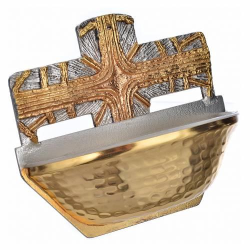 Acquasantiera dorata croce s2