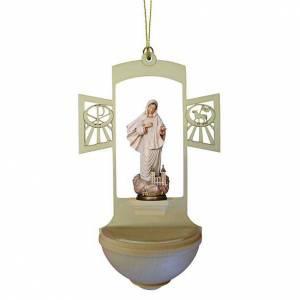 Acquasantiera Madonna Medjugorje legno dipinto s1