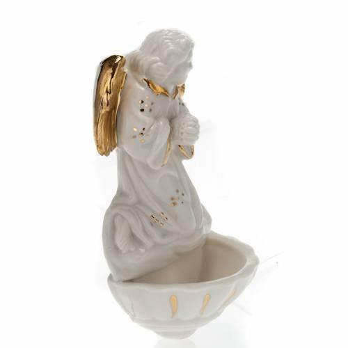 Acquasantiera porcellana bianca Angelo s3