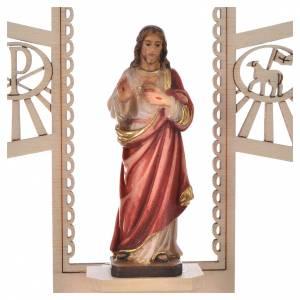 Acquasantiere: Acquasantiera Sacro Cuore di Gesù legno dipinto