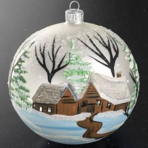 Addobbo albero Natale vetro soffiato bianco paese 12 cm s3