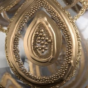 Addobbo albero Natale vetro soffiato trasparente oro 10 cm s4