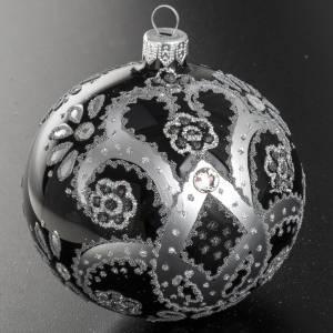 Addobbo albero vetro nero argento 10 cm s3