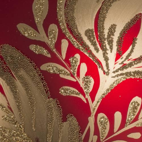 Addobbo albero vetro rosso oro 15 cm s2