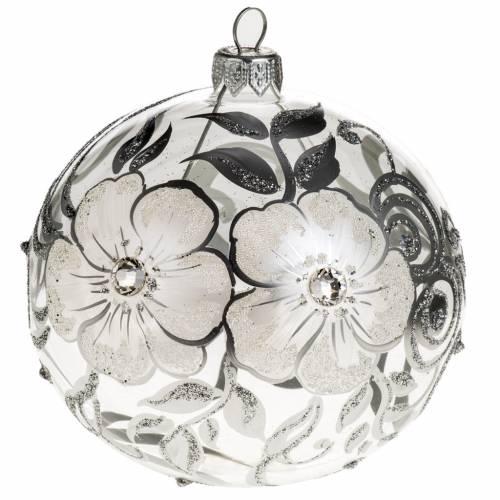 Addobbo albero vetro trasparente argento 10 cm s1