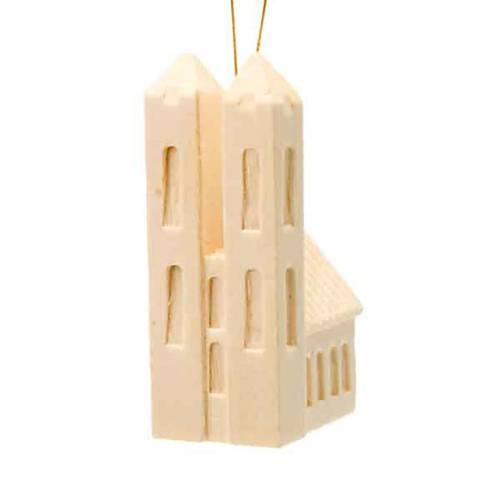 Addobbo di Natale chiesa in legno da appendere s1